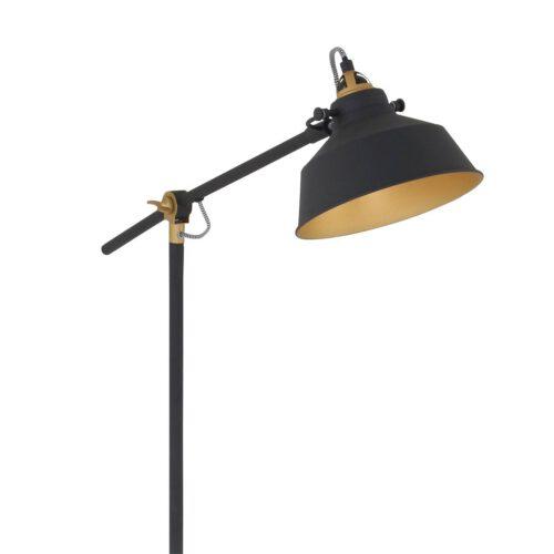 Industriële vloerlamp 1-lichts metaal MEXLITE - 1322ZW - vloerlamp - industrieel - zwart - Mexlite