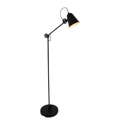 Industriele vloerlamp 1-lichts zwart metaal ANNE LIGHTING - 1325ZW - Vloerlamp - Anne Lighting - Dolphin - Retro - Industrieel - Zwart