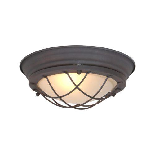 Industriele plafondlamp - Industriële wandlamp - Industriele plafonnier - 1-lichts bruin 28cm MEXLITE - 1357B - Industriële plafondlamp - Industrie lamp - Industriële plafonnier - Industriële wandlamp - Mexlite - Industrieel - Landelijk - Bruin - Metaal Glas
