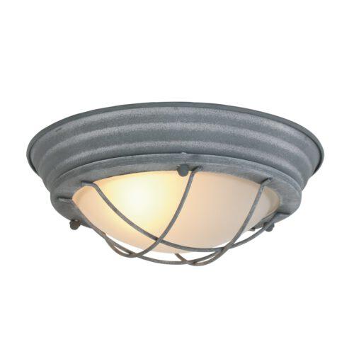 Industriele plafondlamp - Industriële wandlamp - Industriele plafonnier - 1-lichts beton 28cm MEXLITE - 1357GR - Industriële plafondlamp - Industrie lamp - Industriële plafonnier - Industriële wandlamp - Mexlite - Industrieel - Landelijk - Grijs - Metaal Glas