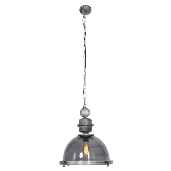 Industriele hanglamp 1-lichts E27 grey glass STEINHAUER - 1452GR - Industrielamp - Industrie Hanglamp - Steinhauer - Bikke l- Industrieel - Landelijk- Grijs  - Glas Metaal