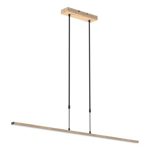 Smalle hanglamp LED 122 cm dimbaar STEINHAUER - 1482BE- Hanglamp- Steinhauer- Zelena LED- Modern - Design Beuken met witte pirex onderstrip- Metaal