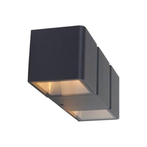 Buitenlamp 2-lichts wand LED 2x3w STEINHAUER - 1501ZW - Tuinverlichting - Buitverlichting- Steinhauer- Jax- Modern- Zwart  - Aluminium