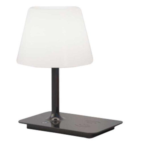 Moderne tafellamp en buitenlamp met draadloze oplader -1-lichts -zwart -Indy - ETH -Expo Trading Holland