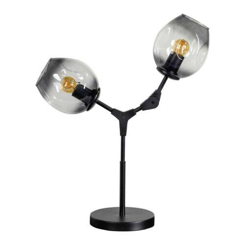 Tafellamp -armatuur zwart glas smoke -modern -2-lichts -Lime - ETH -Expo Trading Holland