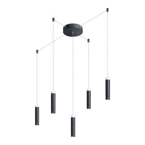 Moderne hanglamp 5-lichts -Jack -zwart -ronde plafondplaat - ETH -Expo Trading Holland