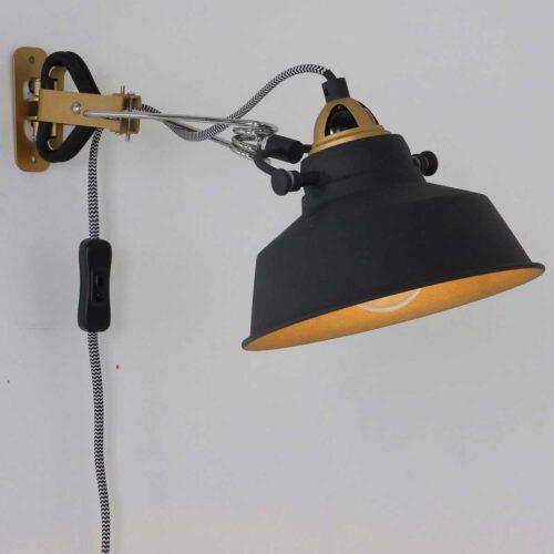 Industriële wandlamp en klemlamp in één - 1-lichts clip MEXLITE - 1320ZW - wandlamp - industrieel- Mexlite