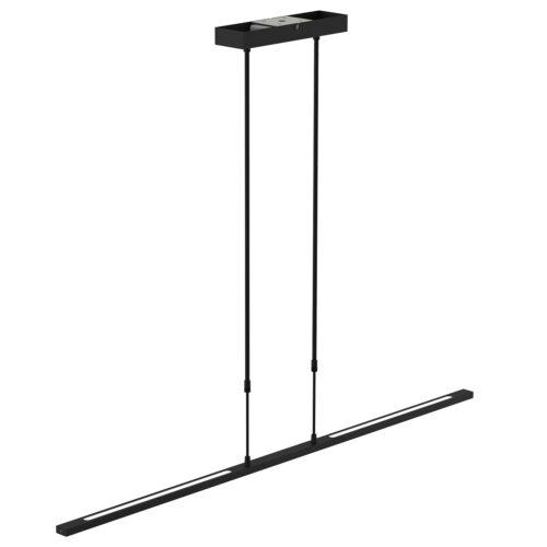 Smalle hanglamp LED 122 cm dimbaar STEINHAUER - 1482ZW - Hanglamp- Steinhauer- Zelena LED- Modern - Design- Zwart  Zwart met witte pirex onderstrip- Metaal