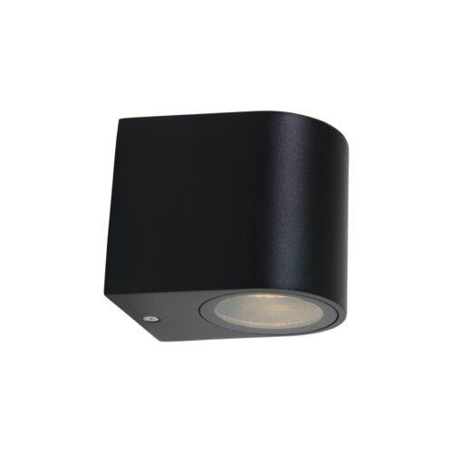 Buitenlamp 1-lichtswand rond GU10 STEINHAUER - 1494ZW - Tuinverlichting - Buitverlichting- Steinhauer- Logan- Modern- Zwart  - Aluminium