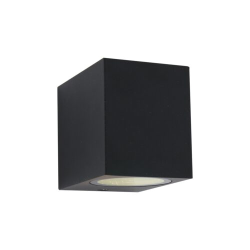 Buitenlamp 1-lichtswand vierkGU10 STEINHAUER - 1495ZW - Tuinverlichting - Buitverlichting- Steinhauer- Logan- Modern- Zwart  - Aluminium
