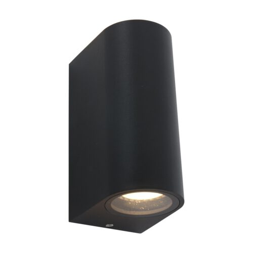 Buitenlamp 2-lichts wand rond GU10 STEINHAUER - 1496ZW - Tuinverlichting - Buitverlichting- Steinhauer- Logan- Modern- Zwart  - Aluminium