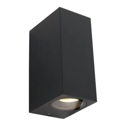 Buitenlamp 2-lichts wand rechth GU10 STEINHAUER - 1497ZW - Tuinverlichting - Buitverlichting- Steinhauer- Logan- Modern- Zwart  - Aluminium