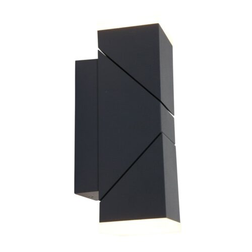 Buitenlamp 2-lichts wand LED rechthoek 2x6-5w STEINHAUER - 1507ZW - Tuinverlichting - Buitverlichting- Steinhauer- Diversen- Diversen- Zwart  -