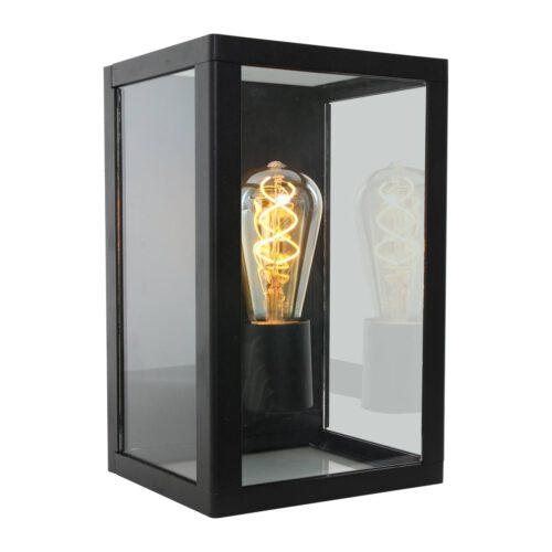 Buitenlamp 1-lichts wand rechthoek  E27 STEINHAUER - 1508ZW - Tuinverlichting - Buitverlichting- Steinhauer- Diversen- Diversen- Zwart  -