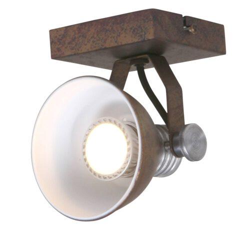 Industriële spot voor plafond en wand - 1-lichts GU10 STEINHAUER - 1533B - Wandlamp - Industrie spot - opbouwspot - wandspot - leeslamp - bedlamp - industrie lamp - plafond spot - Steinhauer - Brooklyn - Industrieel - Stoer - Bruin - Bruin gevlekt met staal accenten- Metaal