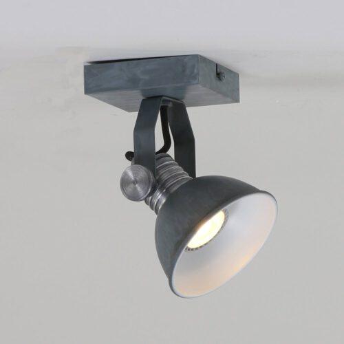 Industriële spot voor plafond en wand - 1-lichts GU10 STEINHAUER - 1533GR - Wandlamp - Industrie spot - opbouwspot - wandspot - leeslamp - bedlamp - industrie lamp - plafond spot - Steinhauer - Brooklyn - Industrieel - Stoer - Grijs  Betonlook met staal accenten - Metaal
