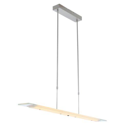 Hanglamp 100cm transparant glas - staal en transparant - Plato LED - Steinhauer