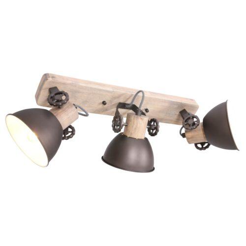 Spot 3-lichts E27 - antraciet en hout - Gearwood - Mexlite