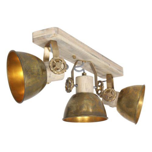 Spot 3-lichts E27 - brons en hout - Gearwood - Mexlite