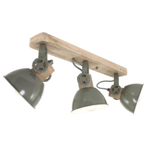 Spot 3-lichts E27 - groen en hout - Gearwood - Mexlite
