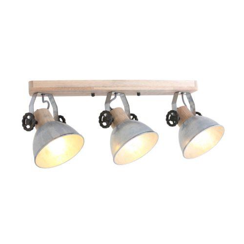 Spot 3-lichts E27 - nikkel en hout - Gearwood - Mexlite