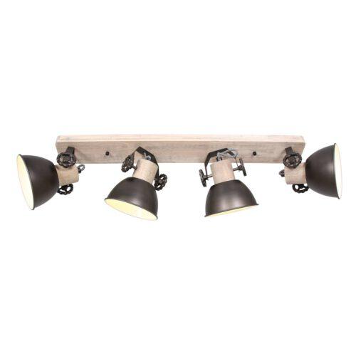 Plafondlamp - wandlamp - spot 4-lichts E27 - antraciet en hout - Gearwood - Mexlite