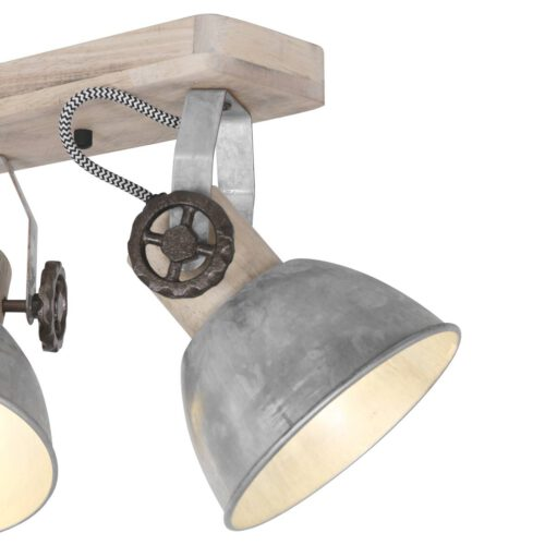 Plafondlamp - wandlamp - spot 4-lichts E27 - nikkel en hout - Gearwood - Mexlite