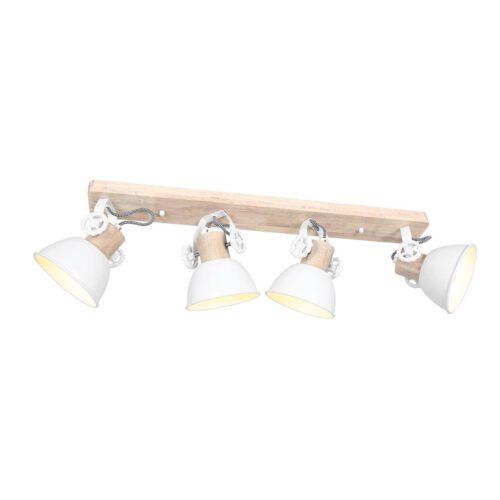 Plafondlamp - wandlamp - spot 4-lichts E27 - wit en hout - Gearwood - Mexlite