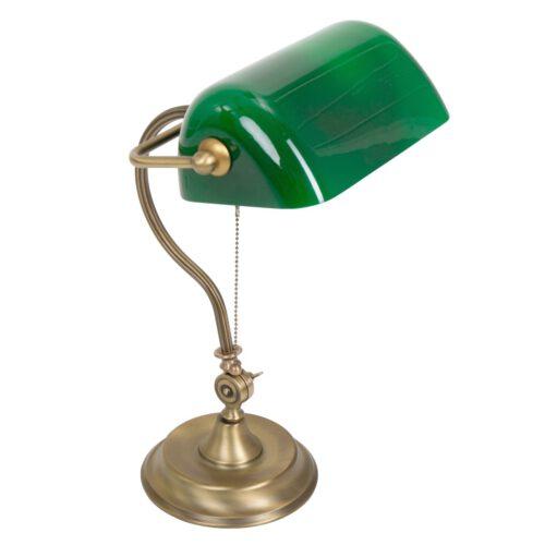 Bureaulamp - tafellamp - leeslamp - 1-lichts glas MEXLITE - 7733BR - Tafellamp- Bureaulamp- Mexlite- Calais- Klassiek - Landelijk- Brons Groen Groen glas met bronzen voet- Metaal Glas