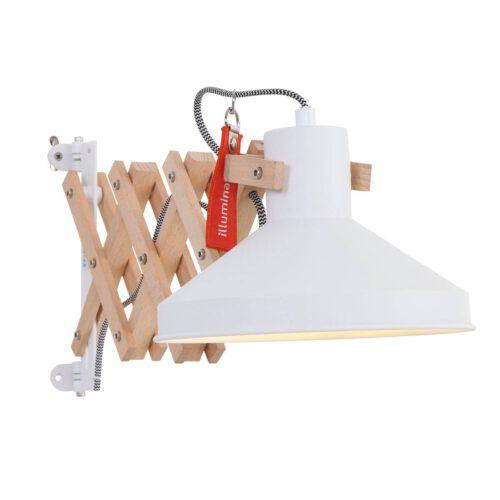 Industriële wandlamp - bureaulamp - 1-lichts Hout ANNE LIGHTING - 7900BE - Wandlamp - industriële bureaulamp - leeslamp - Anne Lighting - Woody - Scandinavisch - Trendy - Wit - Houten wandlamp wit - Hout Metaal