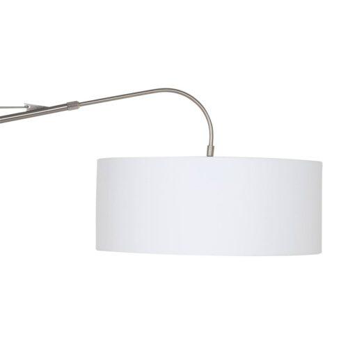 Wandlamp - leeslamp - Gramineus 9723 staal - kap linnen wit STEINHAUER
