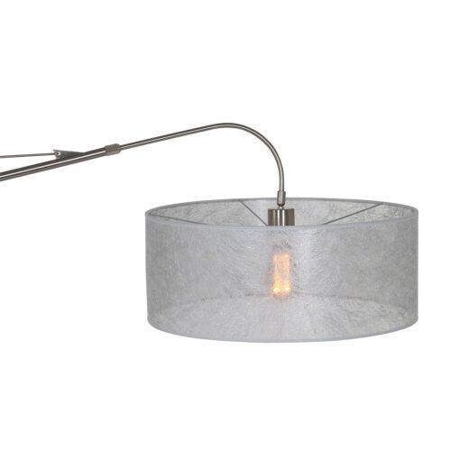 Wandlamp - leeslamp - Gramineus 9724 staal - kap linnen grijs STEINHAUER