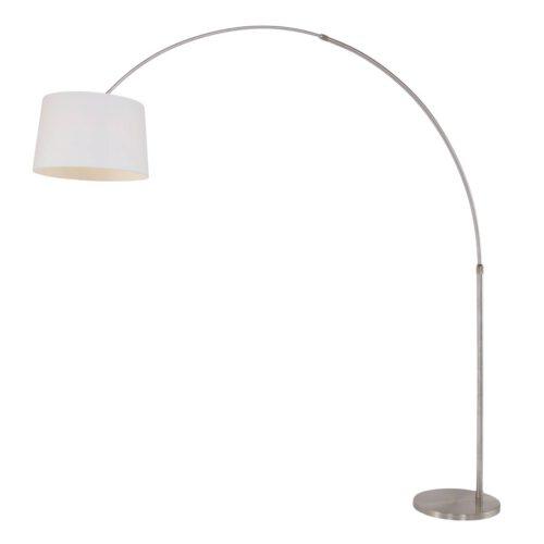Vloerlamp Met Hoek Gramineus 9882ST Staal - Witte kap STEINHAUER