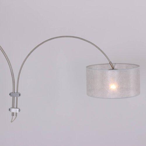 Wandlamp 1-lichts switch (armatuur)+Kap 35*35*18 rond Be27 Zilver Sizoflor - STEINHAUER