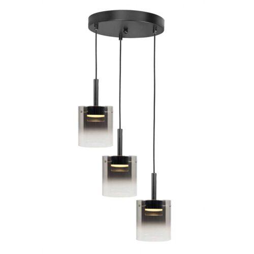 Hanglamp Salerno 3-lichts - geintegreerd LED 2700 Kelvin - 1350 Lumen - max -  Watt 3 x 5 Watt - rond 38 cm - maximale hoogte 150 cm - Metaal + 3 x glas G2173 - 19 - HIGH LIGHT