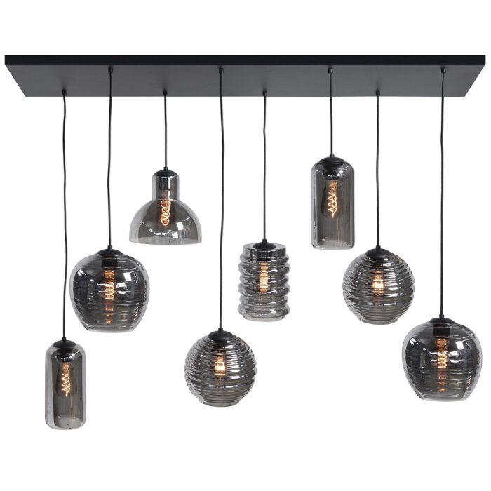 Hanglamp 130 cm -  X 35 cm -  lichts 8 X E27 Fantasy + glas Smoke - Serie Fantasy - Hanglamp - High Light - H564219