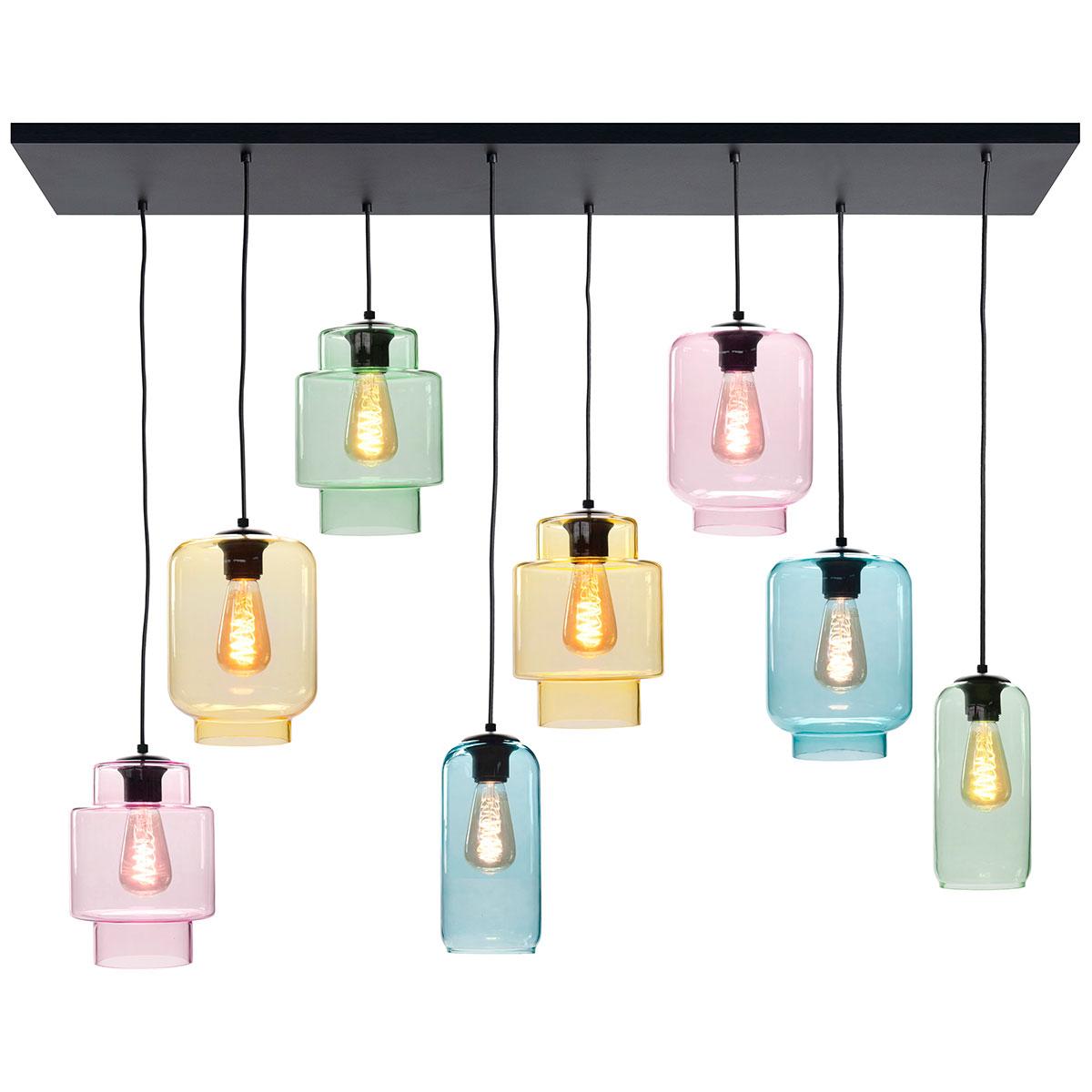 Hanglamp Fantasy Multicolor 8-lichts inclusief gekleurd glas - LED - plafondplaat is mat zwart - dimbaar - van HIGH LIGHT -  Prachtige gladde multicolor glas kappen -  Drie verschillende modellen waarvan het Belle model - de slanke lange - 22 cm lang is -  Fitting E27 - lichtbronnen exclusief -  Deze prachtige hanglamp is dimbaar met een externe dimmer -  De plafondplaat is 130 x 35 cm -  Het snoer maximaal 130 cm -