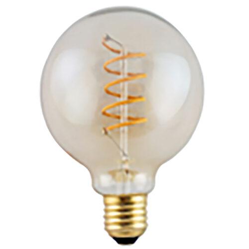 LED spiraal 9W DIM lamp - Globe Ø95 mm - 9 Watt - dimbaar -  E27 fitting - kleur Amber -  Duurzaam - decoratief en dimbaar met LED dimmer -  Kelvin 2700 - Lumen 810 -  HIGH LIGHT -  Deze LED lichtbron is ook verkrijgbaar in de kleur Smoke en in Smoke en Amber ook met een diameter van 95 mm en van 125 mm -  Ook is dezelfde LED lamp in de uitvoering 6 Watt met een 3-standen - 3-step dimmer verkrijgbaar - zie onze webshop bij LED lichtbronnen -  Ten opzichte van Smoke geeft de Amber kleur meer licht -  L2616 - 36