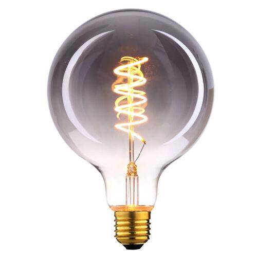 LED spiraal 9W DIM lamp - Globe Ø125 mm - 9 Watt - dimbaar -  E27 fitting - kleur Smoke -  Duurzaam - decoratief en dimbaar met LED dimmer -  Kelvin 2700 - Lumen 810 -  HIGH LIGHT -  Deze LED lichtbron is ook verkrijgbaar in de kleur Amber en in Smoke en Amber ook met een diameter van 125 mm en van 125 mm -  Ook is dezelfde LED lamp in de uitvoering 6 Watt met een 3-standen - 3-step dimmer verkrijgbaar - zie onze webshop bij LED lichtbronnen -  Ten opzichte van Smoke geeft de Amber kleur meer licht -  L2617 - 19