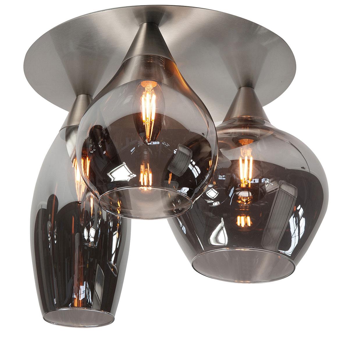 Plafondlamp Cambio - nikkel mat - 3 lichts glas Smoke - transparant rookglas - doorsnede 32 cm - 37 cm hoog - dimbaar - excl -  lichtbron 3 x E14 maximaal 40 Watt - HIGH LIGHT -  De drie glazen kelken hebben elk een andere vorm en afmeting -  Diameter kelken van 12-20 cm - hoogte van 18-25 cm -   Sfeervolle plafondlamp uit de Cambio serie van High Light -