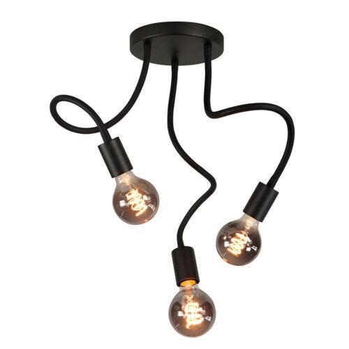 Plafondlamp Flex 3-lichts - mat zwart van HIGH LIGHT -  Deze moderne industriële plafondlamp is voorzien van flexibele buizen met een lengte 50 cm - u kunt de armen van de lamp daardoor buigen -  De diameter van de mat zwarte aluminium plafondplaat is 20 cm -  Hij is geschikt voor drie lichtbronnen met E27 fitting van maximaal 40 Watt (exclusief) -  Ook zeer geschikt voor de mooie dimbare LED filament lampen (kijk in onze webshop bij LED lichtbronnen) -  Deze plafondlamp uit de Flex serie van High Light is dimbaar met een externe wanddimmer (exclusief) -  De plafondlamp is ook te leveren met vijf licht armen -  P6626 - 01