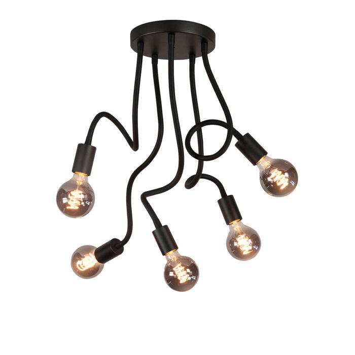 Plafondlamp Flex 5-lichts - mat zwart van HIGH LIGHT -  Deze moderne industriële plafondlamp is voorzien van flexibele buizen met een lengte 50 cm - u kunt de armen van de lamp daardoor buigen -  De diameter van de mat zwarte aluminium plafondplaat is 20 cm -  Hij is geschikt voor vijf lichtbronnen met E27 fitting van maximaal 40 Watt (exclusief) -  Ook zeer geschikt voor de mooie dimbare LED filament lampen (kijk in onze webshop bij LED lichtbronnen) -  Deze plafondlamp uit de Flex serie van High Light is dimbaar met een externe wanddimmer (exclusief) -  De plafondlamp is ook te leveren met drie licht armen -  P6627 - 01