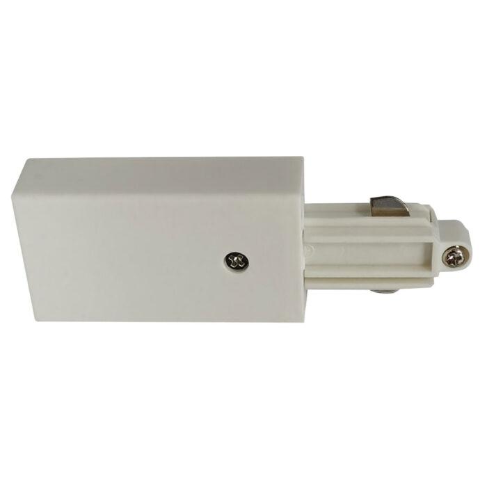 Aansluitstuk voor witte spanningrail -  Dit aansluitstuk maakt onderdeel uit van de moderne railverlichting RSWebo-1 van High Light -  Dit moderne 1 fase railsysteem van Highlight  kunt u geheel zelf samenstellen -  Het systeem RSWebo-1 beschikt over verschillende lengtes spanningrail - over cilinder en retro bol spots - allerlei koppelstukken - verbinders - bochten en zelfs een adapter voor een eventuele hanglamp -  De set is geheel op maat door u samen te stellen - aan elkaar te koppelen en te voorzien van het gewenste aantal spots - maar in onze shop verkopen we ook een paar complete sets met of drie of vier spots -  Het hele systeem is leverbaar in de kleuren mat zwart en wit -  Alle items in onze webshop met code RSWebo-1 - passen bij elkaar -  De spots zijn te verschuiven - draaibaar en kantelbaar -  De aansluitvoeding zit aan het begin van de rail daar zit ook het kroonsteentje om de aansluiting te maken -  De spots binnen de serie RSWebo-1 zijn geschikt voor een GU10 LED lichtbron van maximaal 35 Watt -  De spots zijn ook dimbaar te maken met een externe wanddimmer (exclusief) -  O5105 - 00