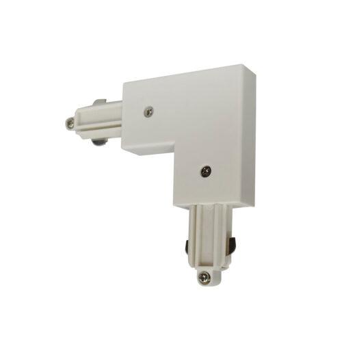 Hoekstuk rail links voor witte spanningrail - bocht 90 graden -  Dit hoekstuk rail links maakt onderdeel uit van de moderne railverlichting RSWebo-1 van High Light -  Dit moderne 1 fase railsysteem van Highlight  kunt u geheel zelf samenstellen -  Het systeem RSWebo-1 beschikt over verschillende lengtes spanningrail - over cilinder en retro bol spots - allerlei koppelstukken - verbinders - bochten en zelfs een adapter voor een eventuele hanglamp -  De set is geheel op maat door u samen te stellen - aan elkaar te koppelen en te voorzien van het gewenste aantal spots - maar in onze shop verkopen we ook een paar complete sets met of drie of vier spots -  Het hele systeem is leverbaar in de kleuren mat zwart en wit -  Alle items in onze webshop met code RSWebo-1 - passen bij elkaar -  De spots zijn te verschuiven - draaibaar en kantelbaar -  De aansluitvoeding zit aan het begin van de rail daar zit ook het kroonsteentje om de aansluiting te maken -  De spots binnen de serie RSWebo-1 zijn geschikt voor een GU10 LED lichtbron van maximaal 35 Watt -  De spots zijn ook dimbaar te maken met een externe wanddimmer (exclusief) -  O5110 - 00