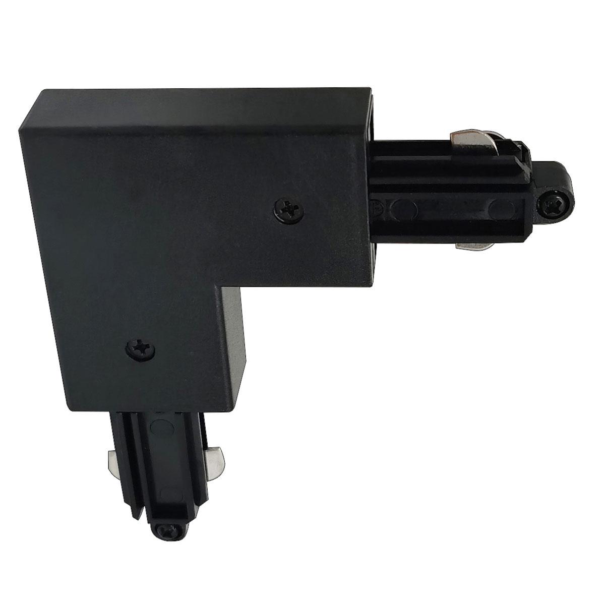 Hoekstuk rail rechts voor mat zwarte spanningrail - bocht 90 graden -  Dit hoekstuk rail rechts maakt onderdeel uit van de moderne railverlichting RSWebo-1 van High Light -  Dit moderne 1 fase railsysteem van Highlight  kunt u geheel zelf samenstellen -  Het systeem RSWebo-1 beschikt over verschillende lengtes spanningrail - over cilinder en retro bol spots - allerlei koppelstukken - verbinders - bochten en zelfs een adapter voor een eventuele hanglamp -  De set is geheel op maat door u samen te stellen - aan elkaar te koppelen en te voorzien van het gewenste aantal spots - maar in onze shop verkopen we ook een paar complete sets met of drie of vier spots -  Het hele systeem is leverbaar in de kleuren mat zwart en wit -  Alle items in onze webshop met code RSWebo-1 - passen bij elkaar -  De spots zijn te verschuiven - draaibaar en kantelbaar -  De aansluitvoeding zit aan het begin van de rail daar zit ook het kroonsteentje om de aansluiting te maken -  De spots binnen de serie RSWebo-1 zijn geschikt voor een GU10 LED lichtbron van maximaal 35 Watt -  De spots zijn ook dimbaar te maken met een externe wanddimmer (exclusief) -  O5111 - 01