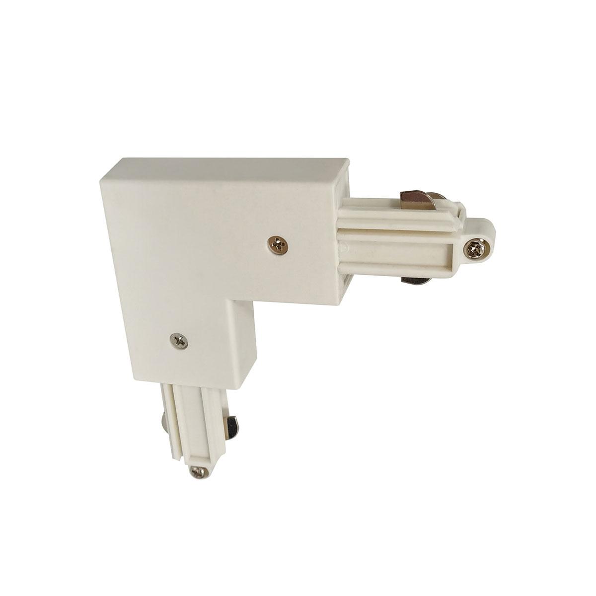 Hoekstuk rail rechts voor witte spanningrail - bocht 90 graden -  Dit hoekstuk rail rechts maakt onderdeel uit van de moderne railverlichting RSWebo-1 van High Light -  Dit moderne 1 fase railsysteem van Highlight  kunt u geheel zelf samenstellen -  Het systeem RSWebo-1 beschikt over verschillende lengtes spanningrail - over cilinder en retro bol spots - allerlei koppelstukken - verbinders - bochten en zelfs een adapter voor een eventuele hanglamp -  De set is geheel op maat door u samen te stellen - aan elkaar te koppelen en te voorzien van het gewenste aantal spots - maar in onze shop verkopen we ook een paar complete sets met of drie of vier spots -  Het hele systeem is leverbaar in de kleuren mat zwart en wit -  Alle items in onze webshop met code RSWebo-1 - passen bij elkaar -  De spots zijn te verschuiven - draaibaar en kantelbaar -  De aansluitvoeding zit aan het begin van de rail daar zit ook het kroonsteentje om de aansluiting te maken -  De spots binnen de serie RSWebo-1 zijn geschikt voor een GU10 LED lichtbron van maximaal 35 Watt -  De spots zijn ook dimbaar te maken met een externe wanddimmer (exclusief) -  O5111 - 00