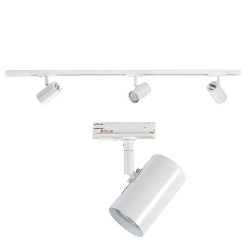 Railverlichting - set van witte spanningrail 100 cm met 3 witte cilinder spots - GU10 LED - HIGH LIGHT -  Dit moderne 1 fase railsysteem van Highlight is ook leverbaar met retro bol spots -  En de hele serie is ook verkrijgbaar in de kleur mat zwart -  Deze set is bovendien volledig uit te breiden -  Het railsysteem kunt u namelijk koppelen aan meer rail en u kunt meer spots in het railsysteem schuiven -  In onze webshop vindt u in de categorie Railverlichting rails van 100 cm en van 150 cm - allerlei koppelstukken - verbinders en ook bochten om het systeem uit te breiden -  Zelfs een adapter om eventueel een hanglamp aan het systeem te hangen -  Alle items in onze webshop met code RSWebo-1 - passen bij elkaar -  De spots zijn te verschuiven - draaibaar en kantelbaar -  De aansluitvoeding zit aan het begin van de rail daar zit ook het kroonsteentje om de aansluiting te maken -  De rail in deze samengestelde set heeft een lengte van 100 cm - een breedte van 3