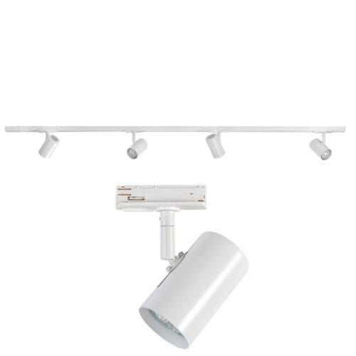 Railverlichting - set van witte spanningrail 150 cm met 4 witte cilinder spots - GU10 LED - HIGH LIGHT -  Dit moderne 1 fase railsysteem van Highlight is ook leverbaar met retro bol spots -  En de hele serie is ook verkrijgbaar in de kleur mat zwart -  Deze set is bovendien volledig uit te breiden -  Het railsysteem kunt u namelijk koppelen aan meer rail en u kunt meer spots in het railsysteem schuiven -  In onze webshop vindt u in de categorie Railverlichting rails van 150 cm en van 150 cm - allerlei koppelstukken - verbinders en ook bochten om het systeem uit te breiden -  Zelfs een adapter om eventueel een hanglamp aan het systeem te hangen -  Alle items in onze webshop met code RSWebo-1 - passen bij elkaar -  De spots zijn te verschuiven - draaibaar en kantelbaar -  De aansluitvoeding zit aan het begin van de rail daar zit ook het kroonsteentje om de aansluiting te maken -  De rail in deze samengestelde set heeft een lengte van 150 cm - een breedte van 3