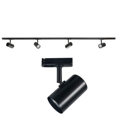 Railverlichting - set van mat zwarte spanningrail 150 cm met 4 mat zwarte cilinder spots - GU10 LED - HIGH LIGHT -  Dit moderne 1 fase railsysteem van Highlight is ook leverbaar met retro bol spots -  En de hele serie is ook verkrijgbaar in de kleur wit -  Deze set is bovendien volledig uit te breiden -  Het railsysteem kunt u namelijk koppelen aan meer rail en u kunt meer spots in het railsysteem schuiven -  In onze webshop vindt u in de categorie Railverlichting rails van 150 cm en van 100 cm - allerlei koppelstukken - verbinders en ook bochten om het systeem uit te breiden -  Zelfs een adapter om eventueel een hanglamp aan het systeem te hangen -  Alle items in onze webshop met code RSWebo-1 - passen bij elkaar -  De spots zijn te verschuiven - draaibaar en kantelbaar -  De aansluitvoeding zit aan het begin van de rail daar zit ook het kroonsteentje om de aansluiting te maken -  De rail in deze samengestelde set heeft een lengte van 150 cm - een breedte van 3