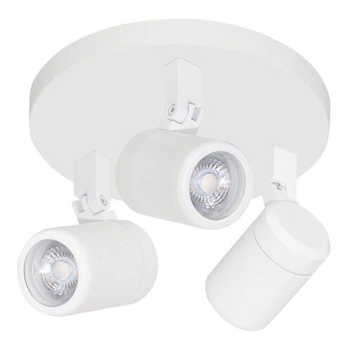 Badkamer spot (zone 2 en 3) Rain spot 3-lichts - plafondlamp met drie spots - GU10 LED rond  IP44 Mat Wit zonder lampen - Serie Rain - Spots - High Light - S737200